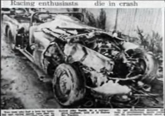 The newspaper article covering the fatal accident.  Picture show the wreckage of the Daimler SP 250.  The accident occurred on the corner of Johns and Gardners Roads, Christchurch