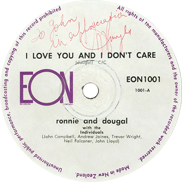 "Commercially released pressing of ""I Love You And I Don't Care"" by Ronnie and Dougal on the EON label"