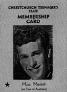 Christchurch Teenager's Club Membership Card